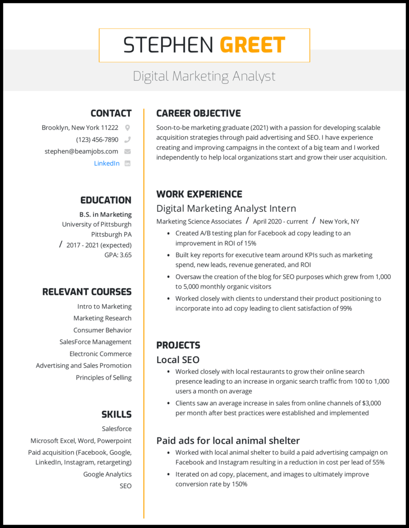 best resume templates for college students  perfect