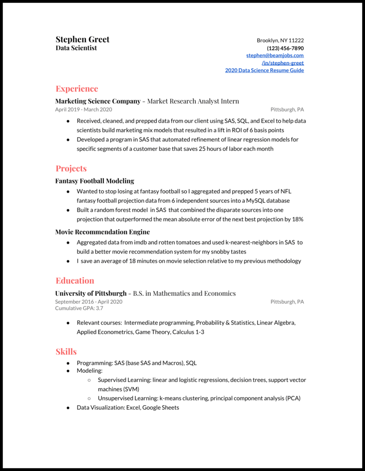 I was wondering if anyone who has a experience in reviewing data science resumes, has a ds background,. 5 Data Scientist Resume Examples For 2021