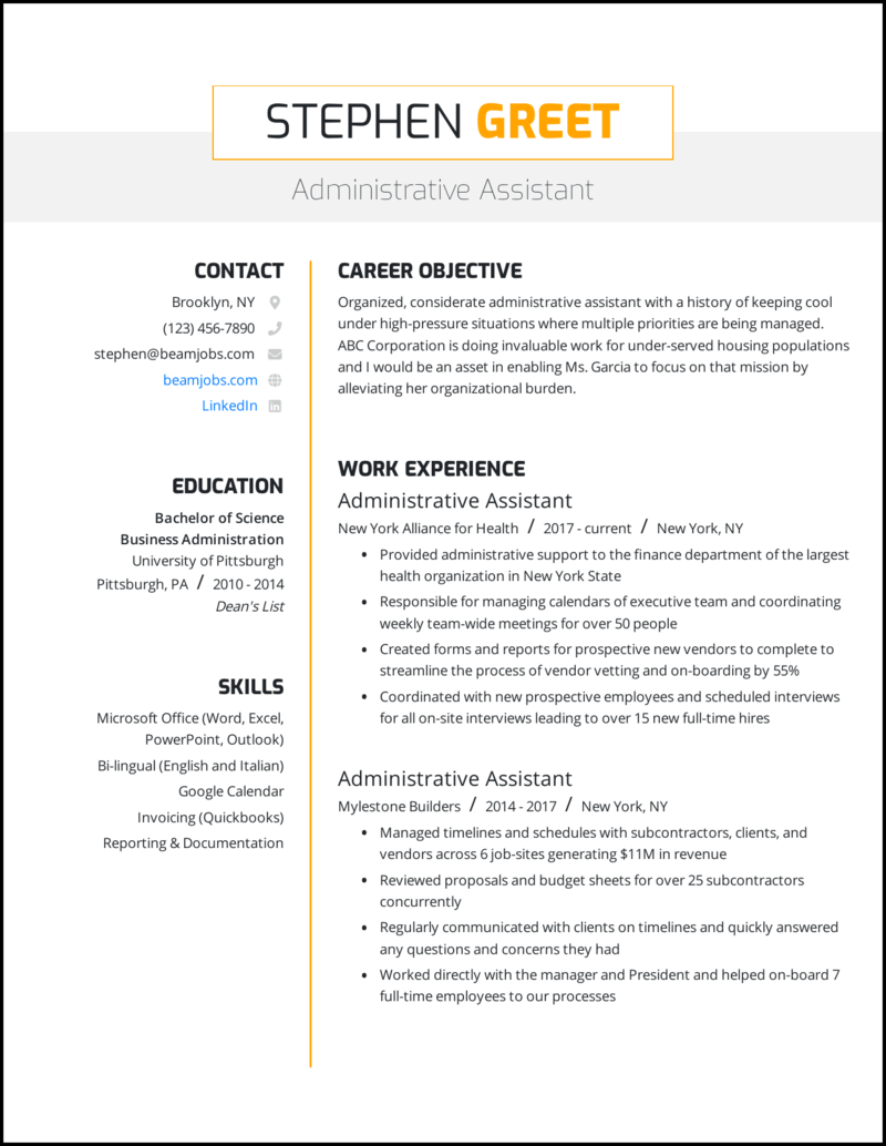 06/03/2020· an office assistant resume should detail as many relevant skills, experiences and responsibilities as possible to communicate your capabilities and enhance your employability. 5 Administrative Assistant Resume Examples For 2021