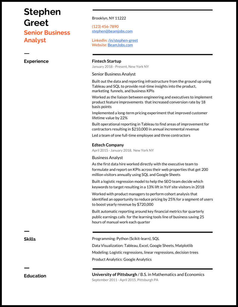 Business Analyst Resume Samples For 2020