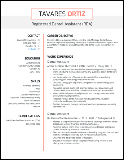 Use keywords while forming your sentences. 5 Dental Assistant Resume Examples That Work In 2021