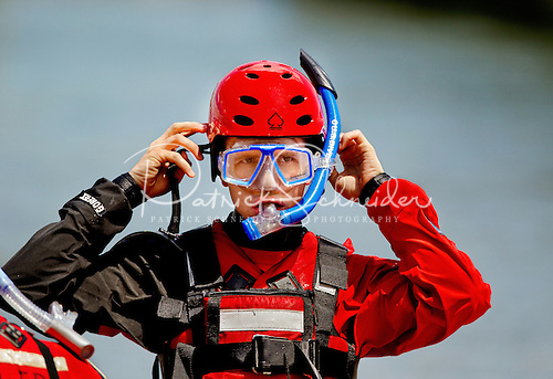 Close-up photo of an aquatic rescue team member during a training exercise on Lake Norman, north of Charlotte, NC.