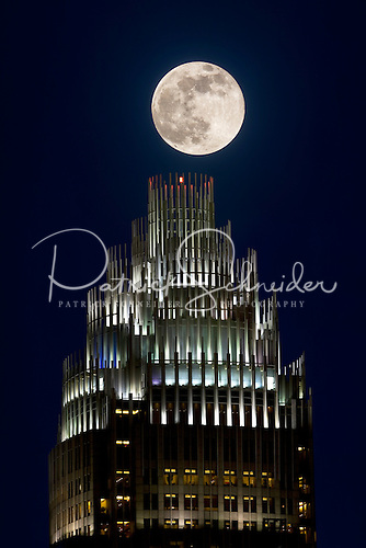 Photo of full moon above Bank of America tower in Charlotte NC