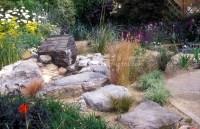 Rock garden with drought tolerant plants, large stones ...