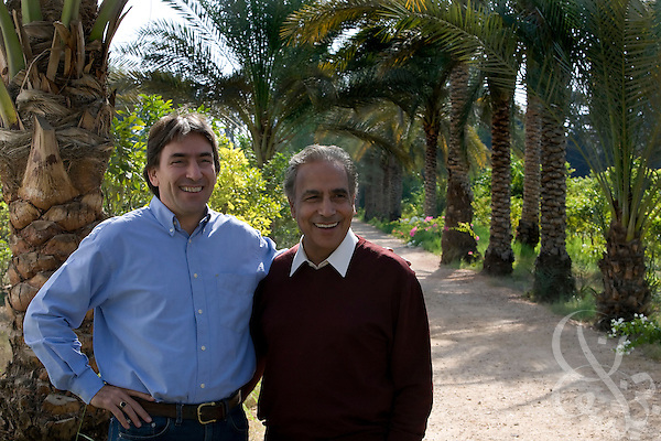 Helmy Abouleish, (l) Managing Director of the leading Egyptian Organic foods and products producer, Sekem Group, poses for a portrait with his father, Sekem founder, Dr. Ibrahim Abouleish on the lush grounds of the Sekem farm Nov 4, 2008 in Belbeis, Egypt. Dr. Ibrahim Abouleish founded the project in 1977 on what was then barren desert, and since has grown it into a lush oasis ecompassing several farms, production plants, schools and even a local medical facility.