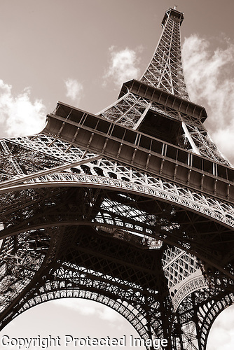 Eiffel Tower in Black and White in Paris, France