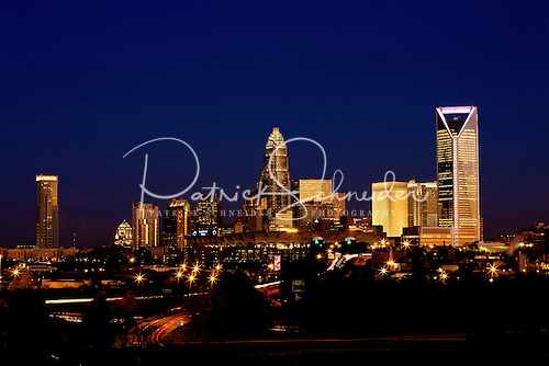 Photography of Charlotte NC skyline after the sun as set.
