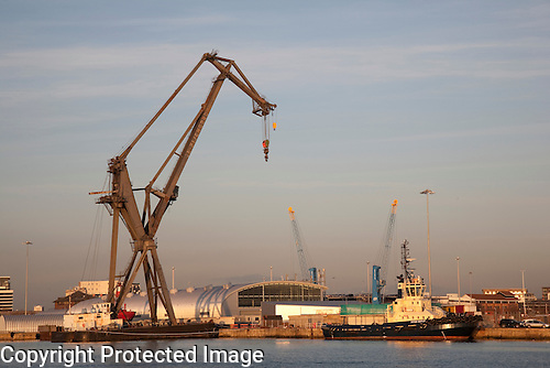 Crane and Tug in Southampton Dock - Port, England