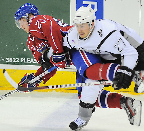AHL - San Antonio Rampage's Greg Rallo and Hamilton Bulldogs' Joonas Nattinen