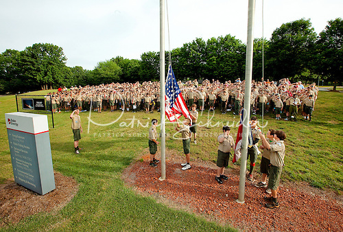Photo: Boy Scouts with Troop 10 execute the flag ceremony before sessions began on Saturday morning.