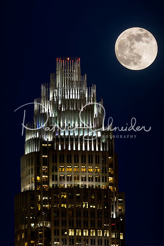 Photo of Bank of America tower and full moon in Charlotte NC