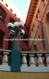 San Diego Skyline art lamp post and building colors ...