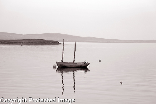 Boat at Sea in Black and White, Stromness, Orkney Islands, Scotland
