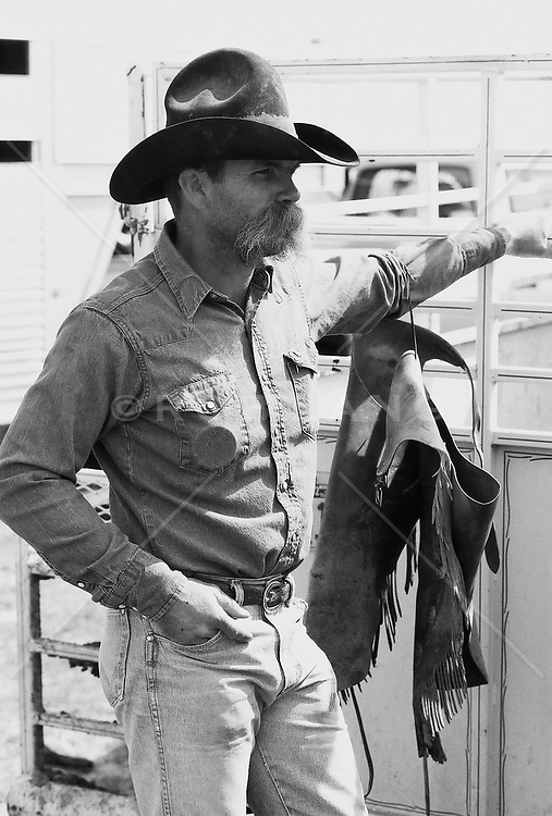 Cowboy With A Handlebar Moustache Looking Off ROB LANG