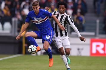 Praet Sampdoria Cuadrado Juve contrasto