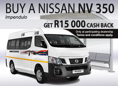 Get R15 000 Cash Back when you buy a Nissan NV 350 Impendulo