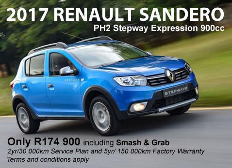 2017 Renault Sandero PH Stepway - R175 900 May 2017 Only