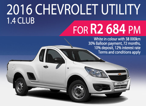 2016 Chevrolet Utility 1.4 Club R2 684 per month