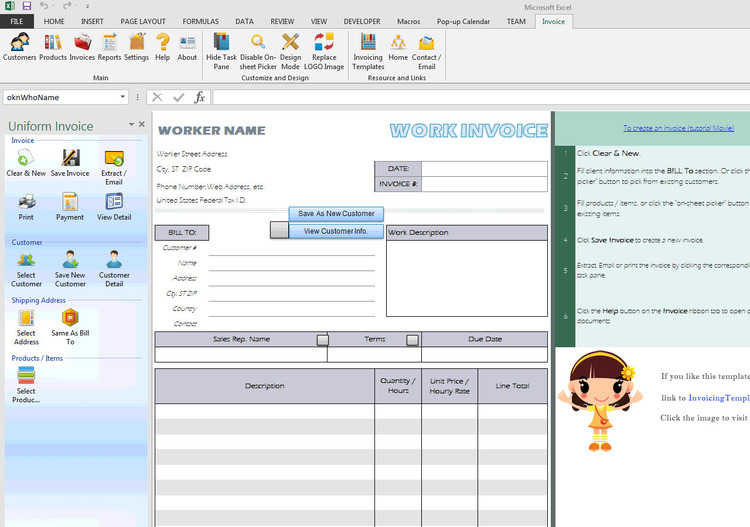 Download Excel Invoice Template 1.70 - Canadian Invoice Template