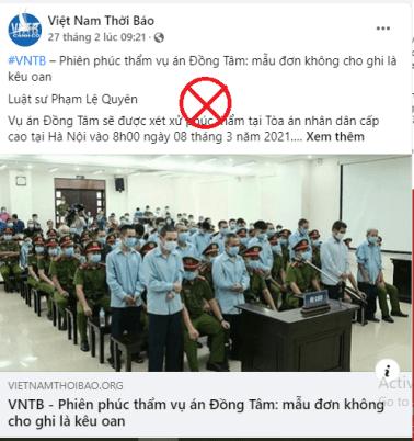Luận điệu tung hỏa mù xung quanh phiên tòa phúc thẩm vụ án Đồng Tâm của Việt Nam Thời Báo.