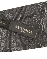 Etro Paisley Silk Bow Tie Black hos CareOfCarl.no