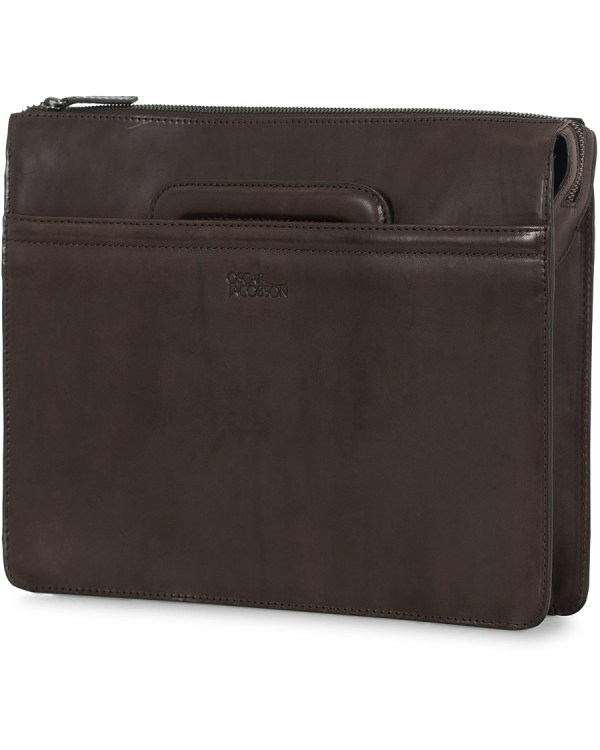 Oscar Jacobson Leather Breifolio Dark Brown Hos Careofcarl