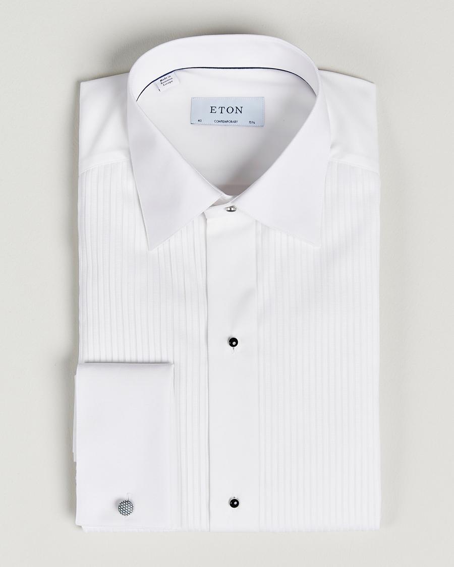 Eton Custom Fit Tuxedo Shirt Black Ribbon White hos