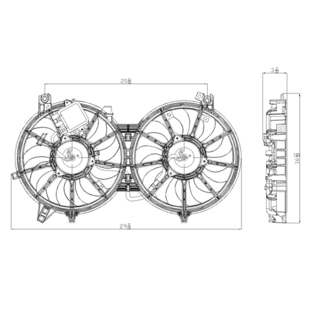 For Infiniti G37 Sedan Radiator A C Cooling Fan