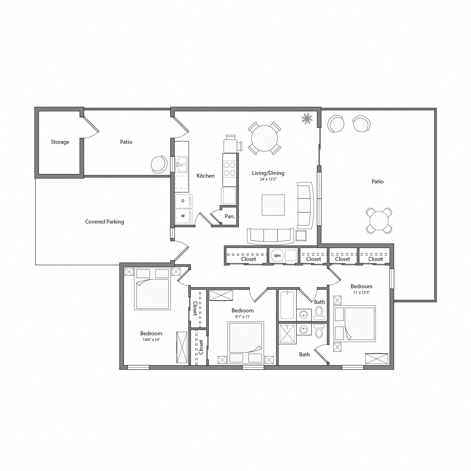 The Arbors Rental Home Floorplan Cypress
