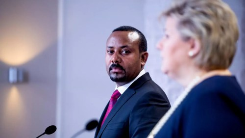 Prime Minister of Ethiopia Abiy Ahmed Ali at news conference after receiving the Nobel Peace Prize in Oslo, Norway December 11, 2019.