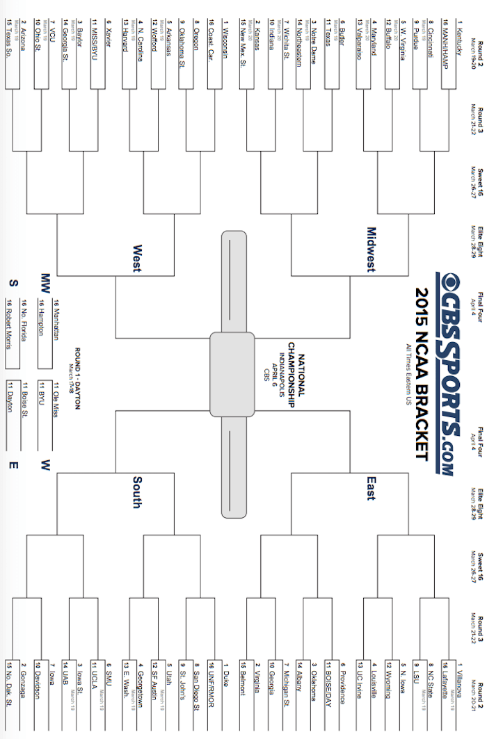 2015 Printable NCAA Tournament Bracket (March Madness)