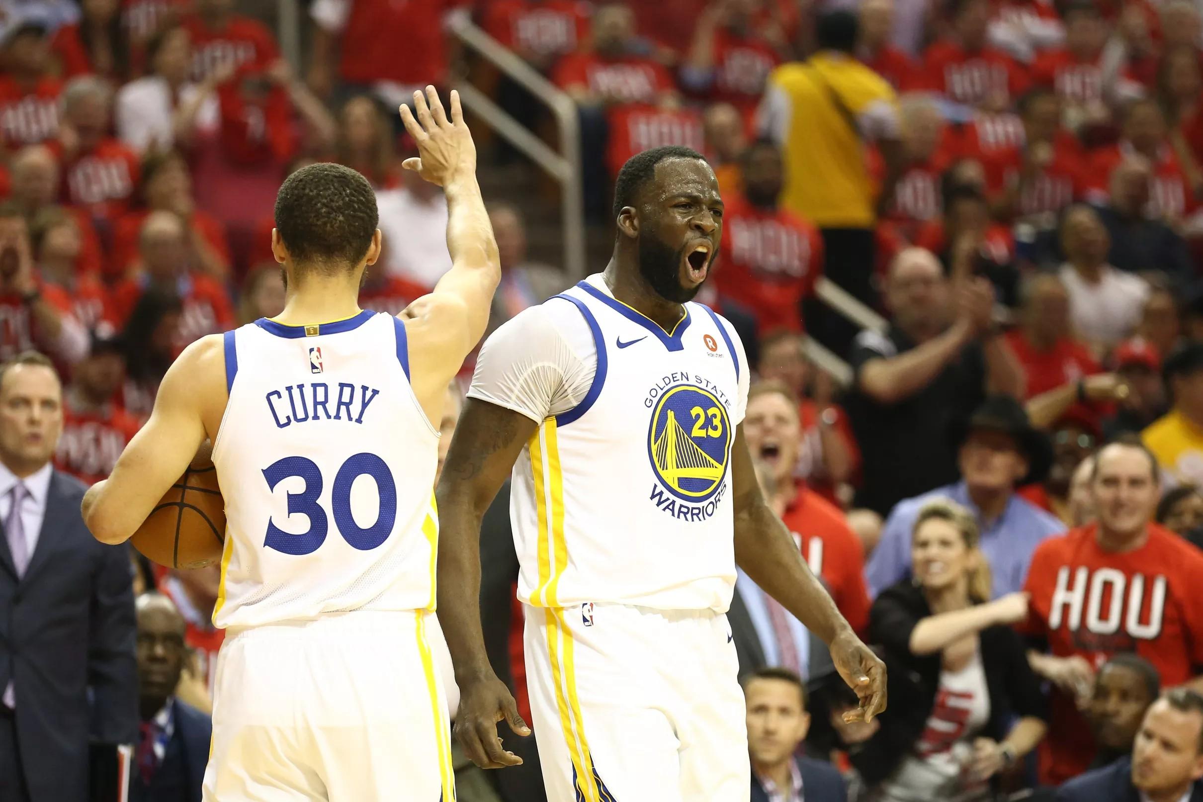 Warriors vs. Rockets. Game 1 halftime score: 56-56 at half