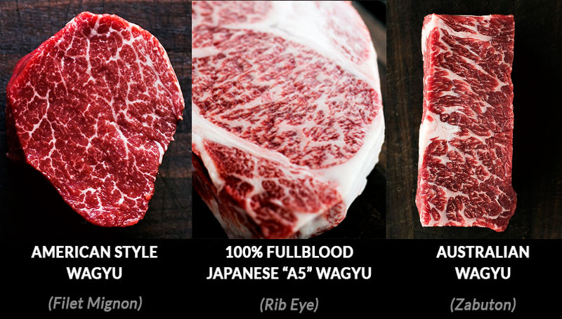 cooking wagyu beef at