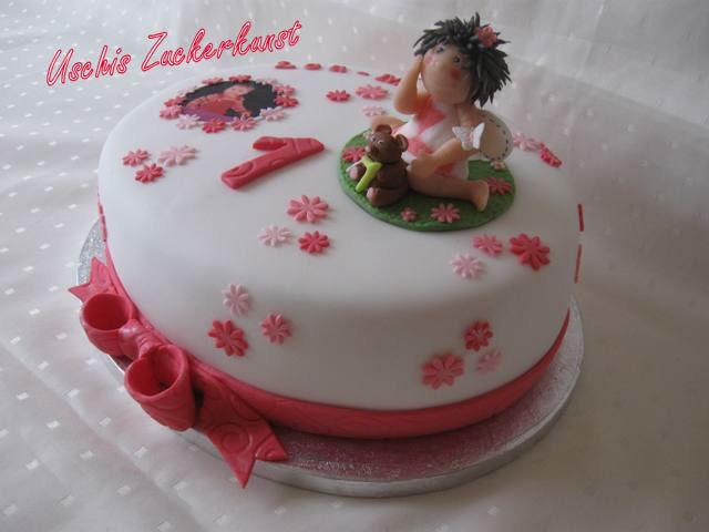 ovale Torte mit Fotodruck  Elfe  Blmchen und einer