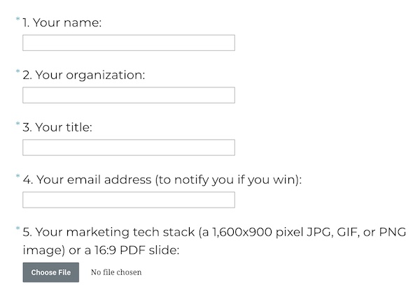 Entry Form for The Stackies 2020: Marketing Tech Stack Awards