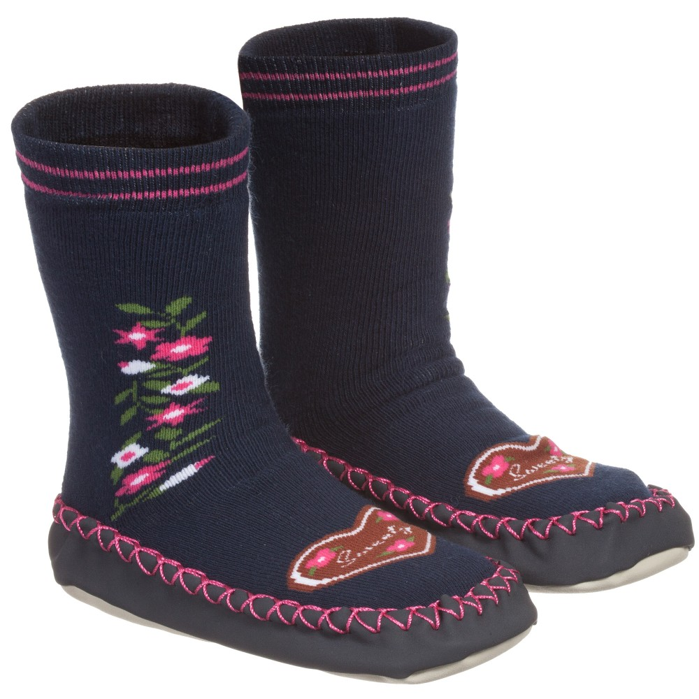 Playshoes  Girls Blue Cotton Slipper Socks  Childrensalon