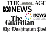 A collage of different logos of various news sites including The Age, ABC News and news.com.au.