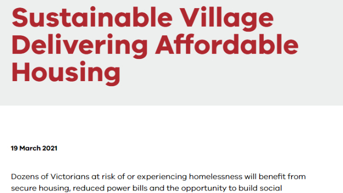 Australia – Victoria, Australia's first carbon-neutral residential area, provides new affordable housing for the homeless-Chinatown, Australia