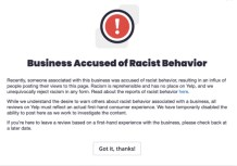 Yelp's New Alert System Marking Businesses as Racist Raises Concerns