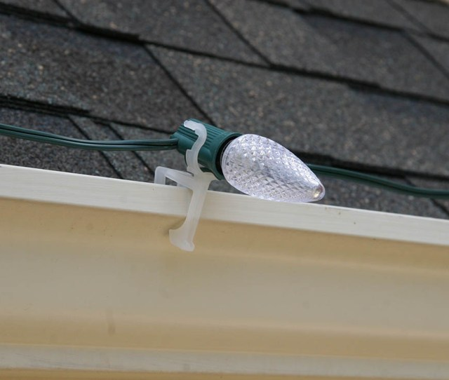 C Christmas Lights Held Securely On Gutters With The All In One Light Clip