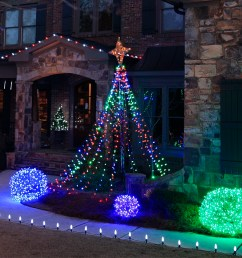 make a diy christmas light tree for the yard using string lights and a basketball pole [ 1200 x 830 Pixel ]