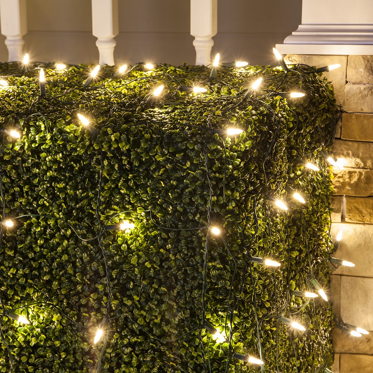 Image result for white christmas lights in bushes