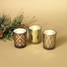Christmas Candle Holders - Golden Glass 3