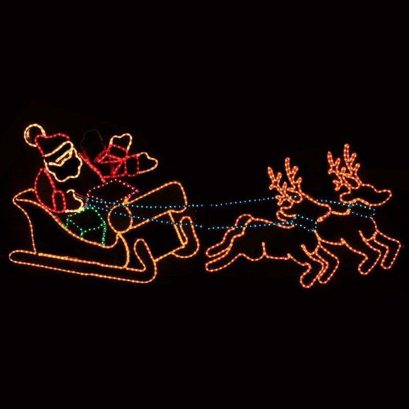 Outdoor Decoration Waving Santa With Sleigh And Reindeer Lawn