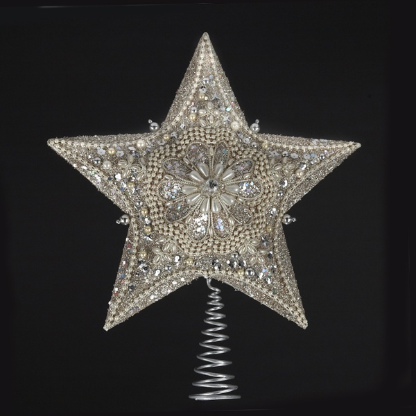 Christmas Decorations 13 5 Quot Glitter And Pearl Silver