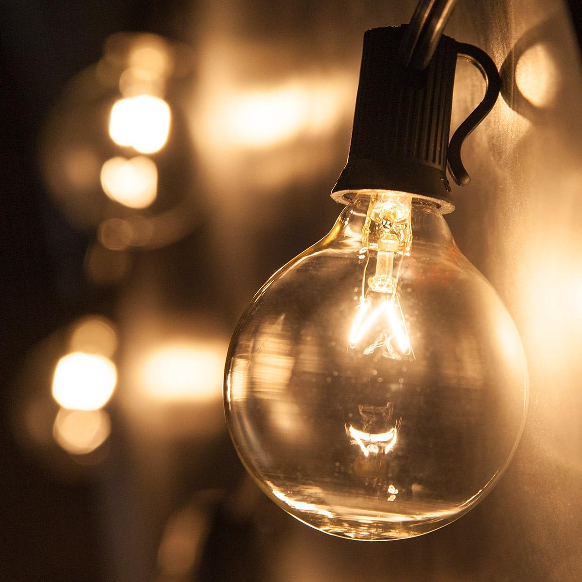 Patio Lights  Clear Globe String Lights 15 G50 E12 Bulbs