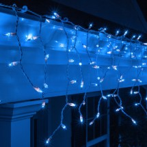 Christmas Icicle Light - 150 Blue Lights White Wire
