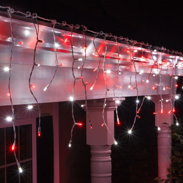 Red and White Icicle Christmas Lights