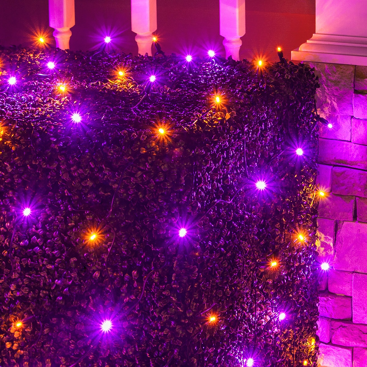hight resolution of orange and purple halloween themed led net lights