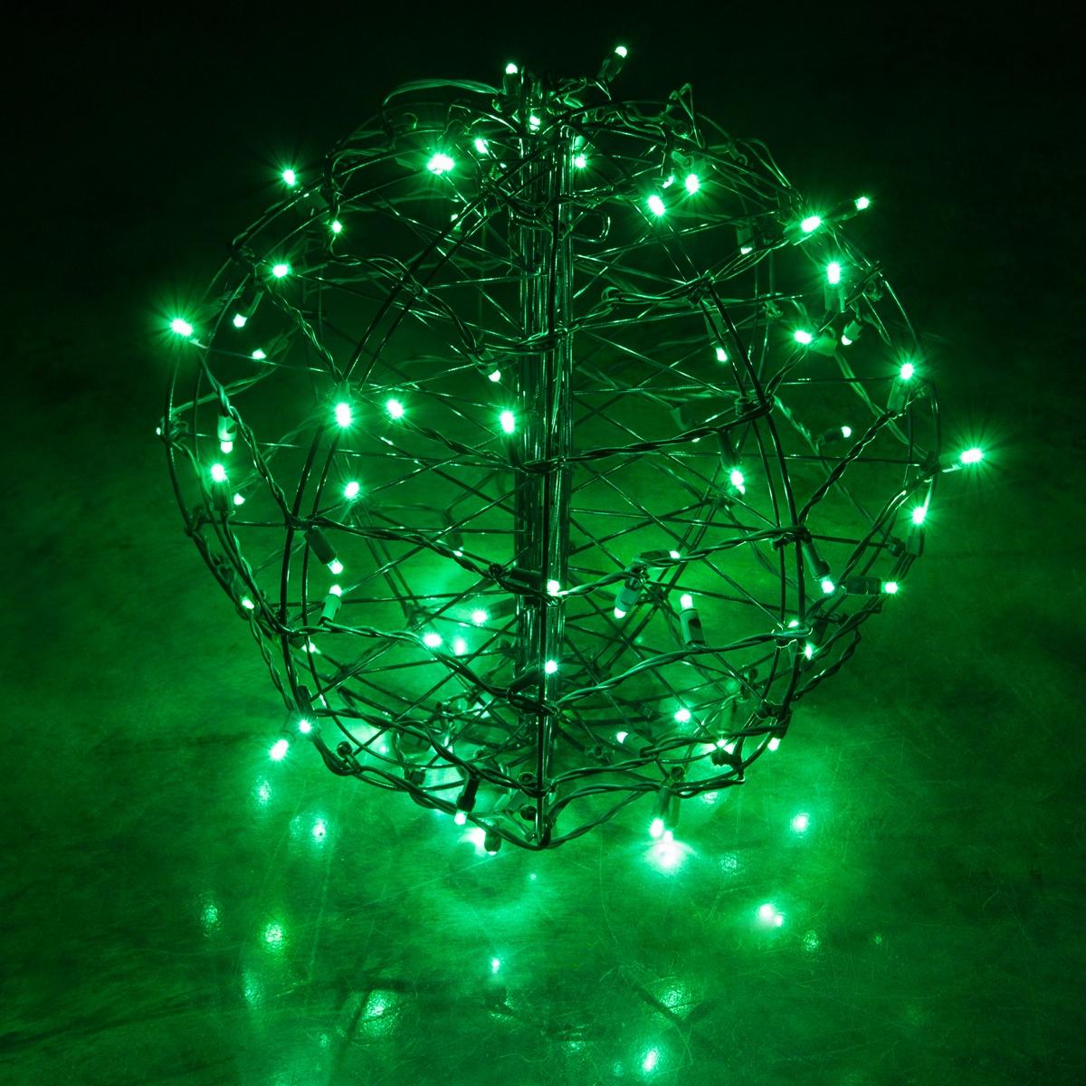 Green Led Christmas Light Ball Fold Flat Brown Frame